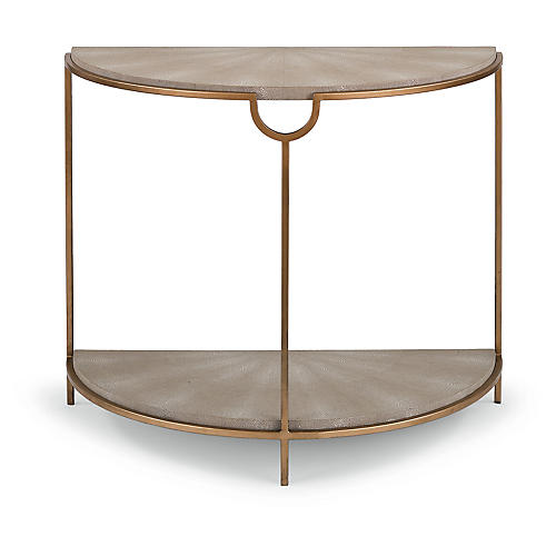 Vogue Demilune Console, Ivory/Gray