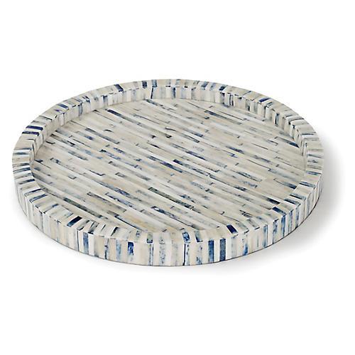 "16"" Round Stripe Tray, Indigo"