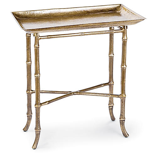 Bamboo-Style Tray Table, Antiqued Brass