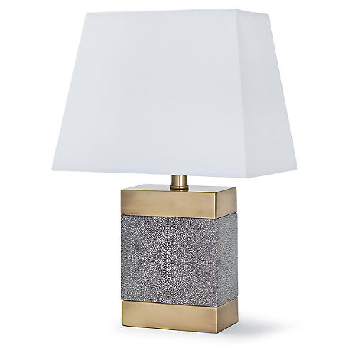 Shagreen Ceramic Table Lamp, Brass