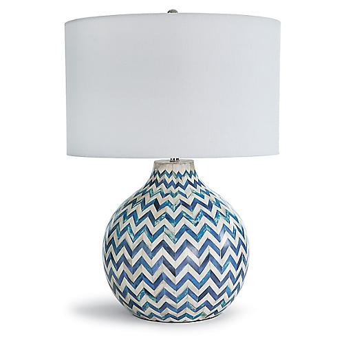 Chevron Bone Table Lamp, Indigo