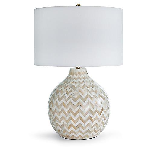 Chevron Bone Table Lamp, Beige/White