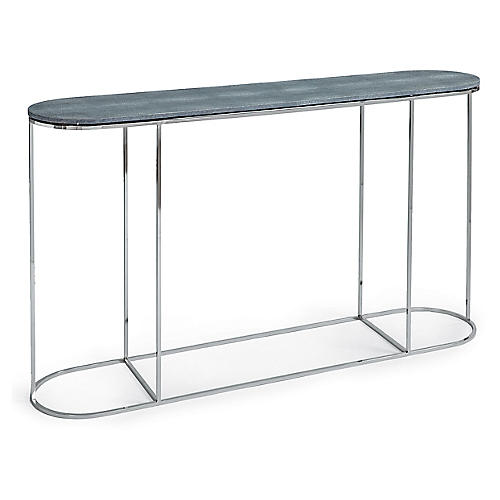 Faux-Shagreen Console, Nickel/Slate