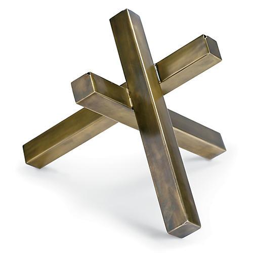"""12"""" Intersecting Sculpture, Brass"""