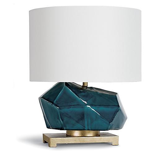 Peacock Ceramic Geode Table Lamp, Blue