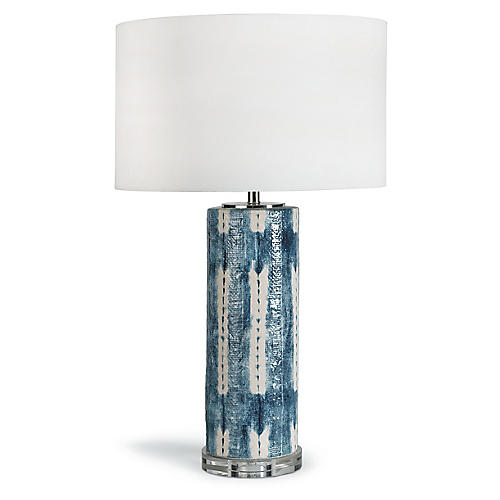 Mali Ceramic Table Lamp, Indigo