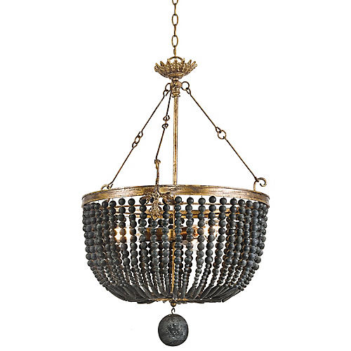 Fabian Wood Chandelier, Black