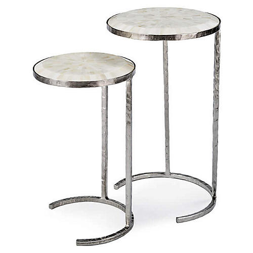 Asst. of 2 Bone Nesting Tables, Polished Nickel