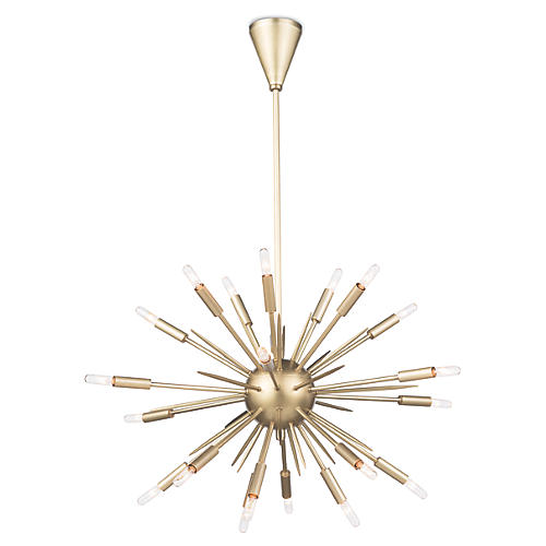Nebula Small Chandelier, Natural Brass