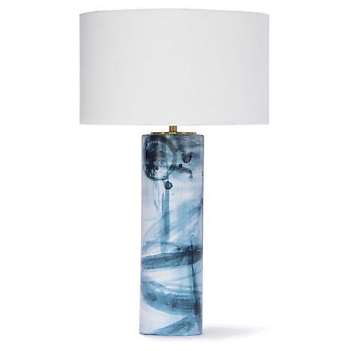 Hudson Ceramic Table Lamp, Indigo