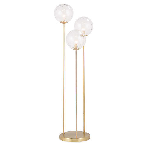 Rio Triple Floor Lamp, Clear/Natural Brass