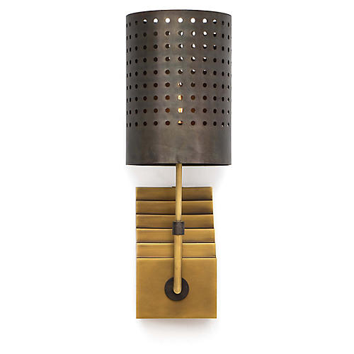 Escher Sconce, Natural Brass/Black