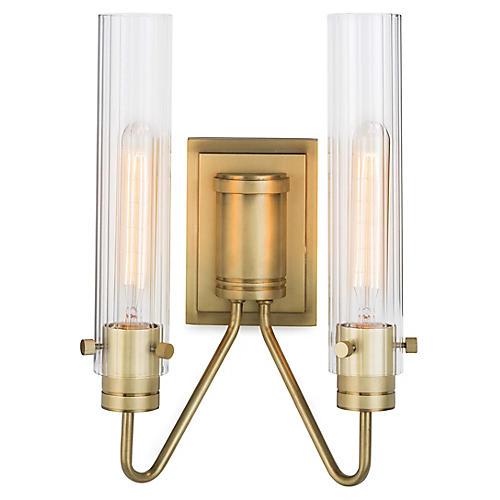 Neo 2-Light Sconce, Natural Brass