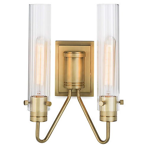 Neo 2-Light Sconce, Natural Brass