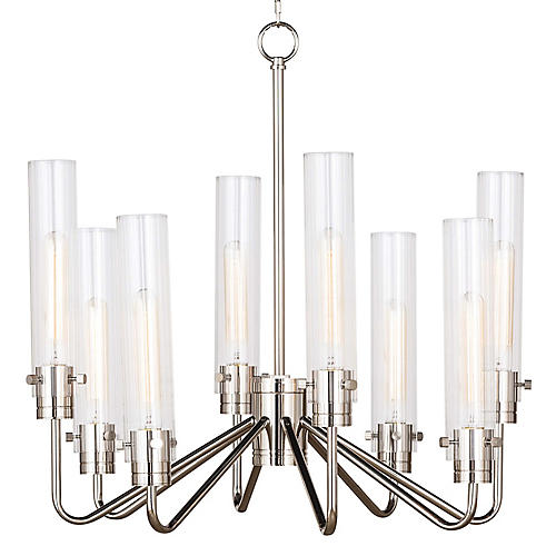 Neo 8-Light Chandelier, Polished Nickel