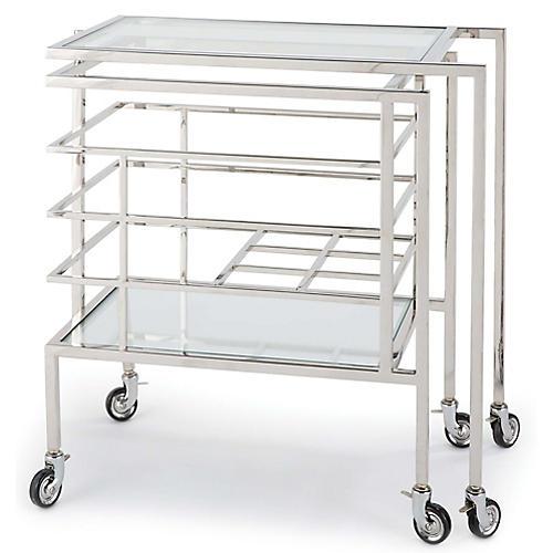 Sidecar Bar Cart, Polished Nickel