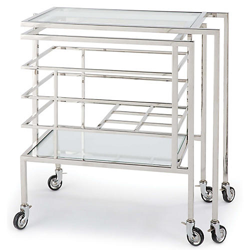Sidecar Bar Cart, Polished Nickel