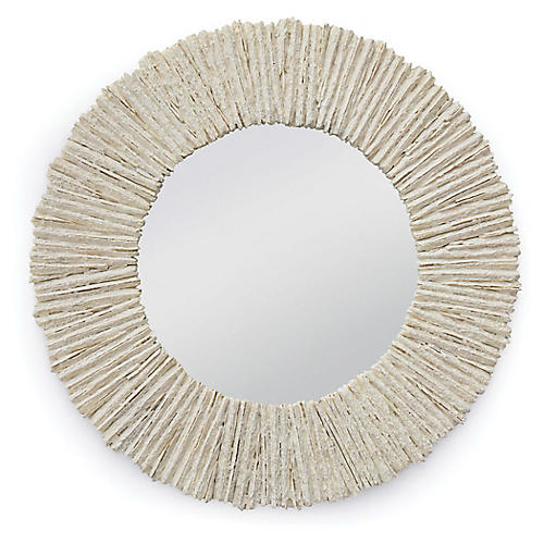 Slate Round Wall Mirror, Off-White