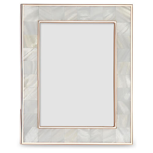 Mother-of-Pearl Picture Frame, Natural/Rose Gold