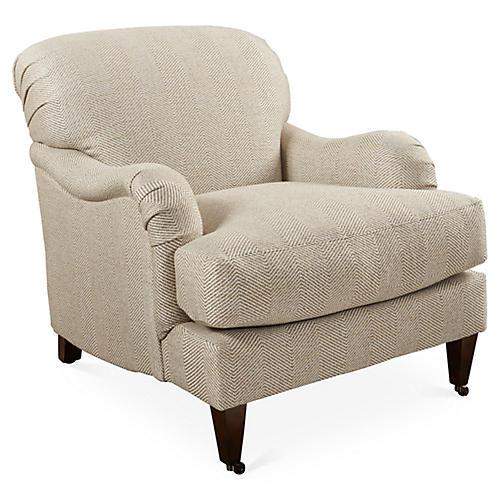 Brampton Club Chair, Beige Herringbone