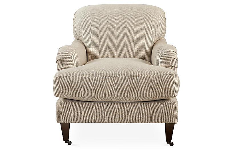 Brampton Club Chair Beige Herringbone Club Chairs