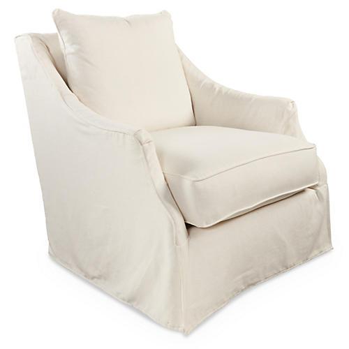 Kate Slipcovered Swivel Chair, Cream Linen