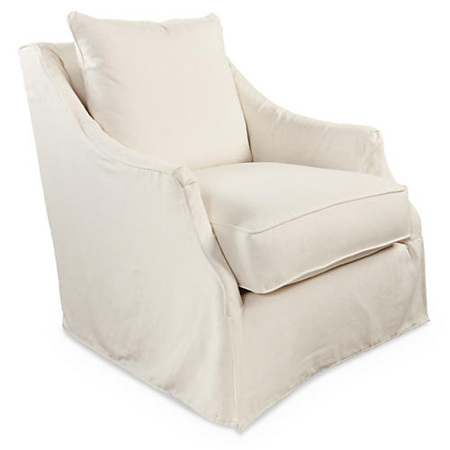 Kate Slipcovered Swivel Chair, Cream Linen