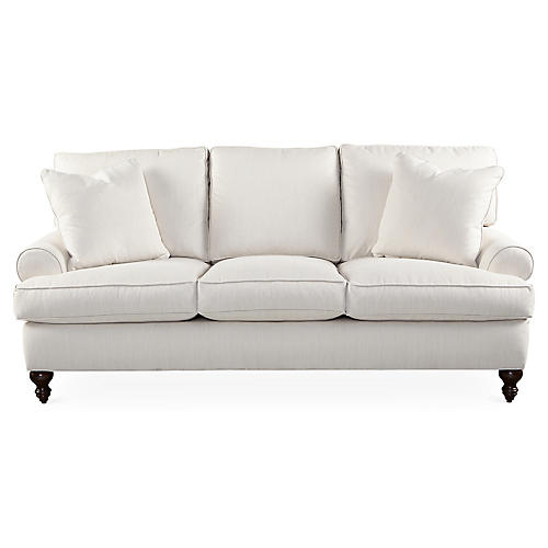 "Cindy 84"" Sofa, Cream Sunbrella"
