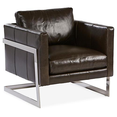 Geneva Accent Chair, Milan Onyx Leather