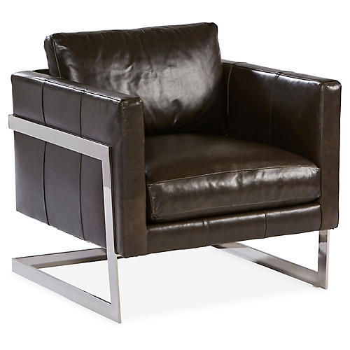 Geneva Accent Chair, Milan Onyx Leather