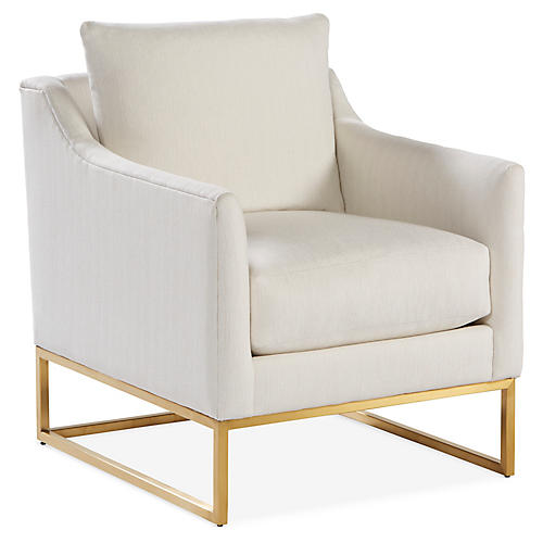 Skyler Accent Chair, Bone White Crypton