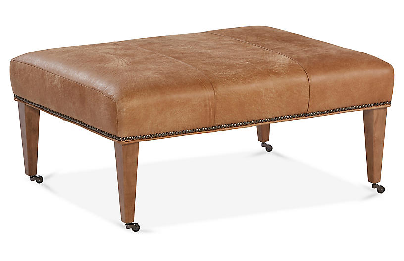Adalene Cocktail Ottoman, Butterscotch Leather