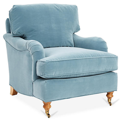 Brooke Accent Chair, Blue Crypton