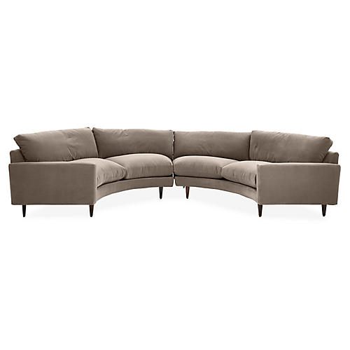 Oslo Curved Sectional, Café Crypton Velvet