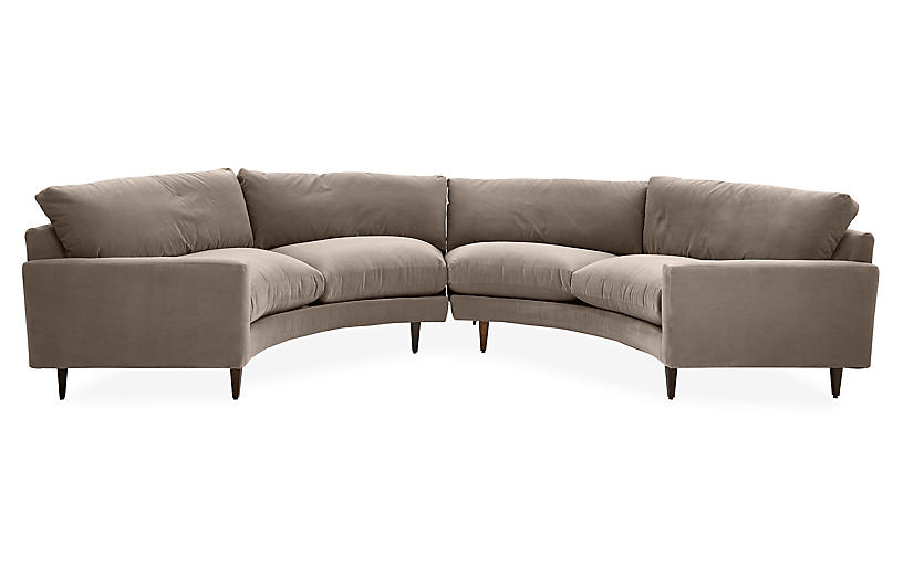 Onslow Curved Sectional, Café Crypton Velvet