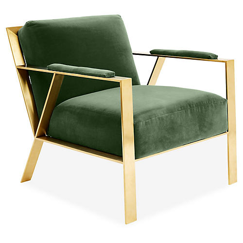 Bergen Accent Chair, Emerald Velvet