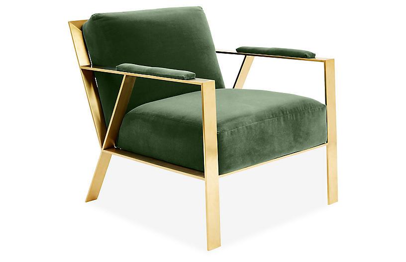Baran Accent Chair, Emerald Velvet
