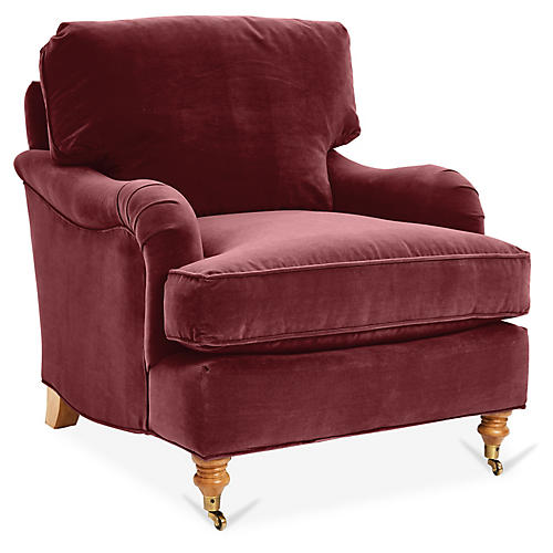 Brooke Club Chair, Berry Velvet