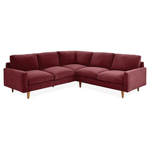 Oslo Left-Facing Sectional, Berry Crypton Velvet