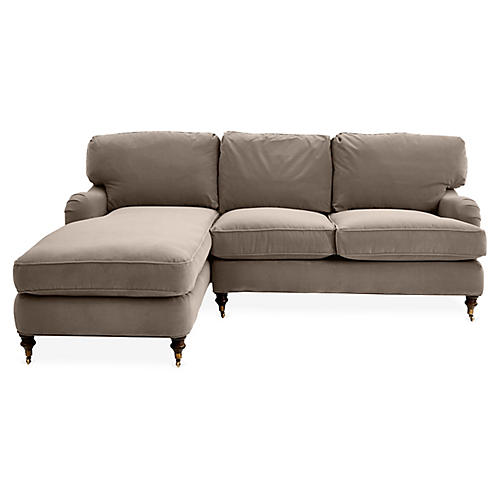 Brooke Left-Facing Sectional, Café Velvet