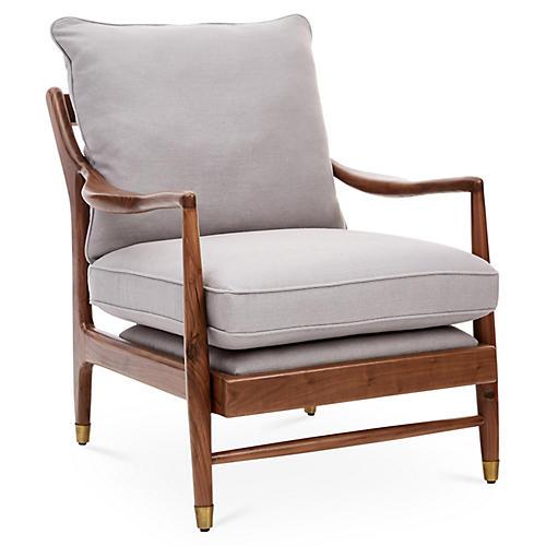 Serafi Accent Chair, Gray Linen