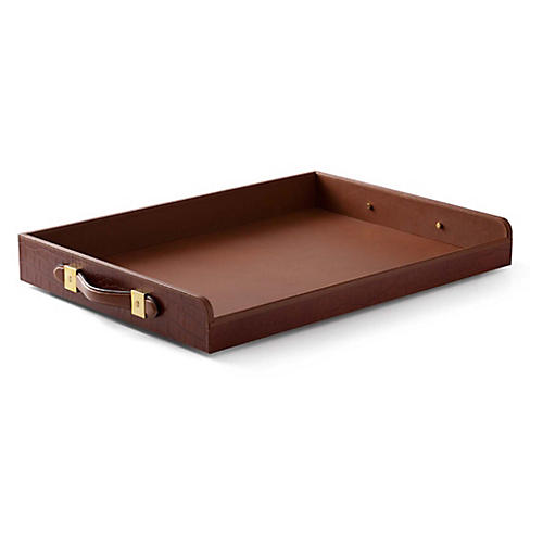 "28"" Theodore Butler's Tray, Saddle Brown"