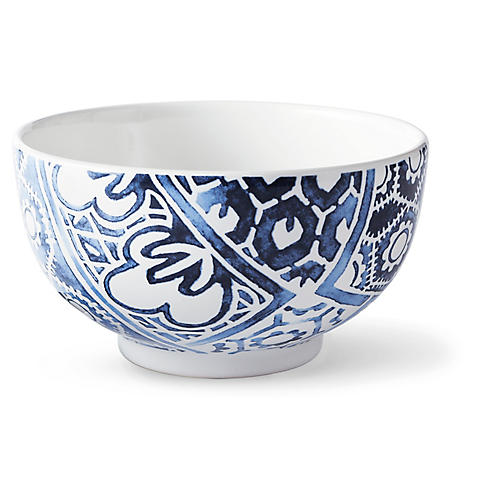 Cote D'Azur Batik Cereal Bowl, Navy/White