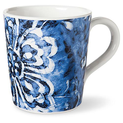 Cote D'Azur Floral Mug, Navy/White
