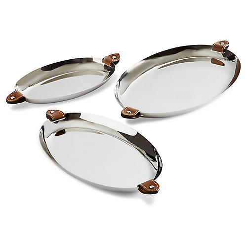 S/3 Wyatt Nesting Trays, Silver/Saddle Brown