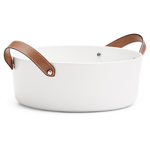 Wyatt Salad Bowl, White/Saddle Brown