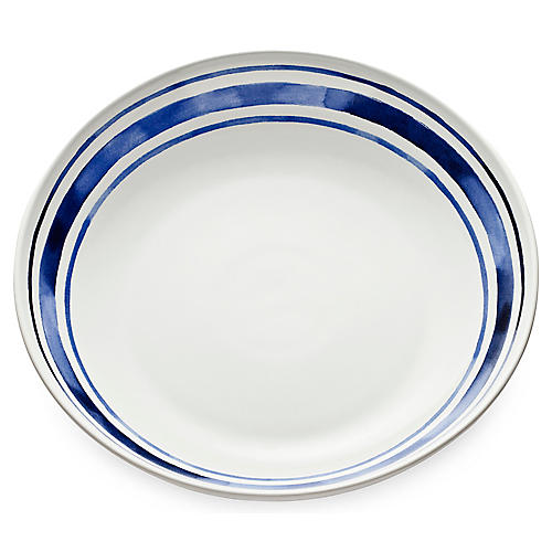 Cote D'Azur Stripe Shallow Serving Bowl, Navy