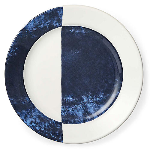 Casey Dinner Plate, White/Navy