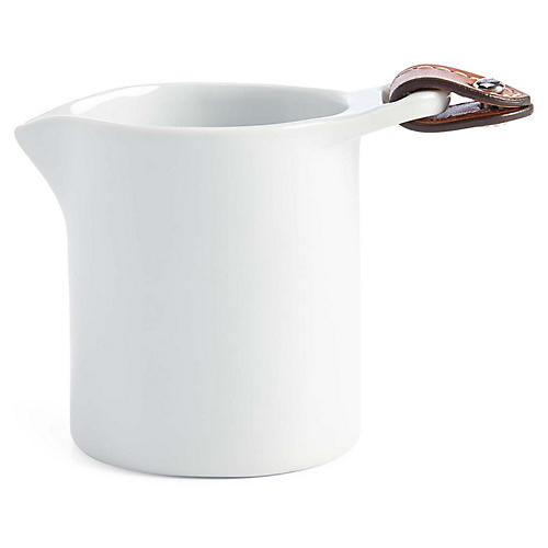 Wyatt Cream Saucer, White/Saddle