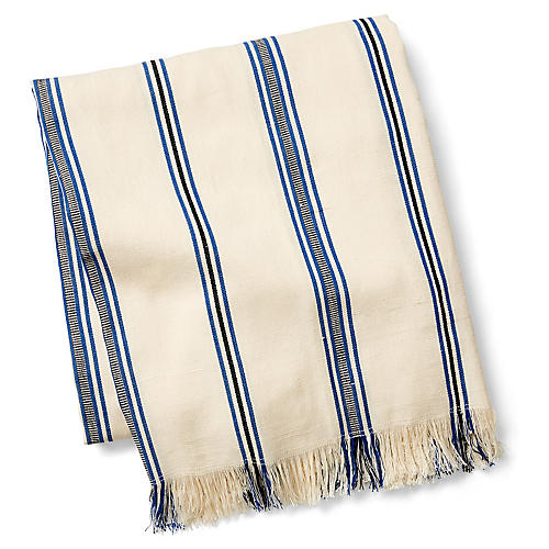 Summer Fringe Beach Blanket, Off-White/Multi